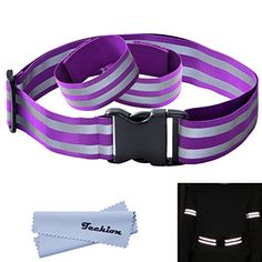 Techion Reflective Elastic Fabric Waist Belt Band with Buckle Clip and AnkleArm Bands Pair for Cycling  Biking  Walking  Jogging  Running Gear Vest and Outdoor Sports Purple >>> You can find out more details at the link of the image.