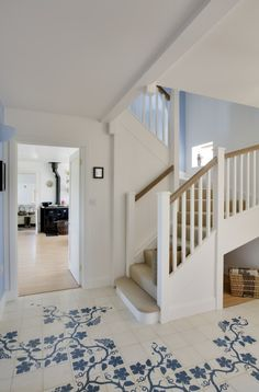 Classic hallway with painted floor - Image No: 0069330 - GAP Interiors - Picture library specialising in Interiors, Lifestyle Rooms & Homes Interior Design London, London Brighton, Interior Photography, Floor Finishes, Tile Floor, Cool Designs, Gap, Stairs, Flooring