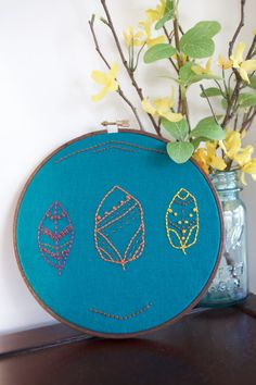 autumn leaves decor. leaves hand embroidery. by AMEhandmade