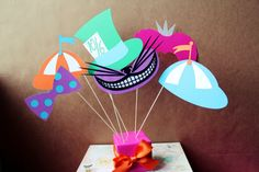 Alice in Wonderland.   Paper Craft Inspirations For Photo Booth Riot.  DIY paper or sewing crafts. Party decorations, favors, activities or photo props. Great idea for kid and family fun.