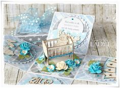 Unique Custom Handmade Exploding Box Card with Crib by ladyEdesign