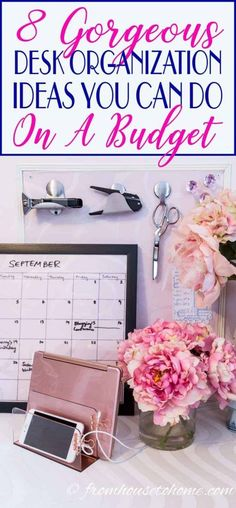 Desk Organization Hacks That Will Boost Your Productivity These space saving desk organization ideas will have your small office organized in no time.These space saving desk organization ideas will have your small office organized in no time. Organisation Hacks, Small Office Organization, Organizing Hacks, Desk Hacks, Small Office Decor, Office Hacks, Cubicle Organization, Office Ideas For Work, Cozy Office