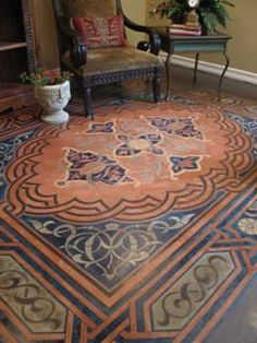 Is that a rug? why no, it's Decorative Concrete! Who knew cement could look so fabulous. -m :: Concrete Floor Stencil, Modello Stenciled Floor, Stenciled Concrete Floor Artistic Concrete, Modello Designs, Chula Vista, CA | via @Margaret Young Network
