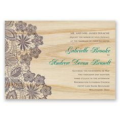 GORGEOUS. lace themed wedding invitation printed on real wood. change the colors to match yours too!