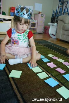 Mess For Less: Post-It Math Games - Get Ready for K Through Play ((pattern recognition/creation) Reggio Emilia Preschool, Reggio Emilia Classroom, Math Magician, Infant Toddler Classroom, Math Sites, Singapore Math, Kindergarten Readiness, Pattern Recognition, Math Concepts