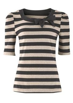 This could be a diy to tryJersey Tops - Stripe Bow Top ~ This website has a lot of cute modest clothing! Modest Outfits, Modest Fashion, Modest Clothing, Apostolic Fashion, Skirt Outfits, Pretty Outfits, Cute Outfits, Summer Outfits, Style Marin