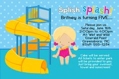 Water park / Pool Party Invite /  invitation / digital image / Birthday / DIY / Printable. $7.99, via Etsy.