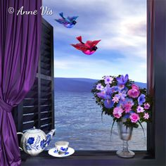 Tea, Darling? - Romantic painting in the series of a Room with a View - #painting #art #ocean