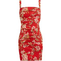 DOLCE & GABBANA Floral Printed Ruched Silk Dress ($1,095) ❤ liked on Polyvore featuring dresses, vestidos, red, short dresses, ruched mini dress, short floral dresses, red dress, red floral dress and floral dress
