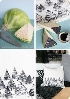 Motifs imprimés avec une tranche de chou - Tygtryck med frukt & grönsaker - Craft & Creativity