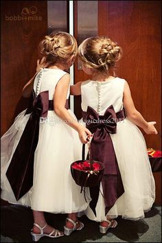 2016 Lovely Wine Ribbon Flower Girl Dresses for Wedding Vintage Jewel Tulle Covered Button Little Kids Formal Gowns Girls Pageant Dress Flowers Girl Pageant One Shoulder Online with $75.0/Piece on Magicdress2011's Store | DHgate.com