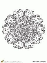 mandala ethnique fleur et coeur