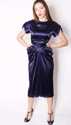 dramatic couture vintage 1930s liquid satin midnight by aiseirigh 30375