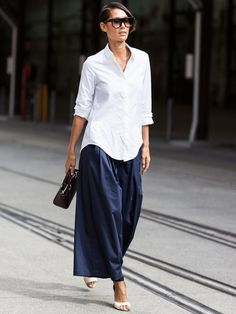button down or blouse over long ankle length skirt or pant + strappy sandal
