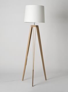 // Oak RS-2 Tripod Floor Lamp Made by Douglas and Bec