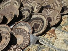 African woven baskets.  Photo taken at Hout Bay Craft Market, Cape Town South Africa