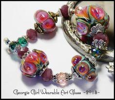 HANDMADE LAMPWORK Bead Set 4 Georgina Oshea by GeorgieGirlArtGlass, $136.00
