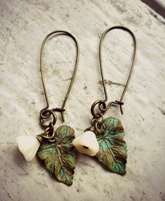 Verdigris Patina Leaves & Czech Glass Bell by McKeeJewelryDesigns