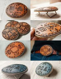 Leather Belt Buckle Unisex hand tooled and by MesaDreams on Etsy, $35.00