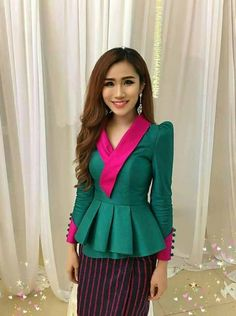 Laos Thai Traditional Synthetic Silk Top blouse Outfits any color available TH3   Clothing, Shoes & Accessories, Women's Clothing, Tops & Blouses   eBay!