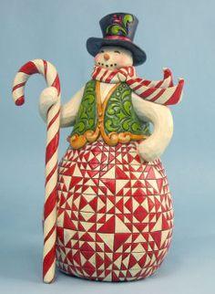 """Sweet Treat"" Red and Green Snowman - Jim Shore Snowmen"