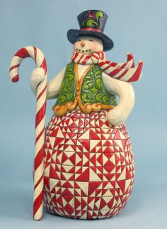 """Sweet Treat"" Red and Green Snowman - Jim Shore Snowmen"