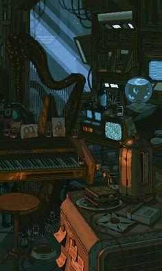 waneella is creating pixel art Wallpaper Animes, Anime Scenery Wallpaper, Aesthetic Art, Aesthetic Anime, Animation Pixel, Arte 8 Bits, Pixel Art Background, Space Opera, Arte Cyberpunk