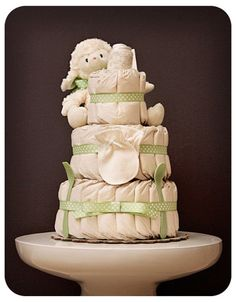 Organic Baby Lamb Boutique Style Diaper Cake by laurawopp on Etsy, $69.00