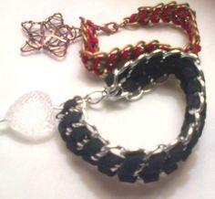 brazaletes plata y negro  rojo y bronce