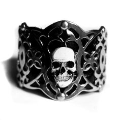 Skull Bracelet Limited Edition Silver Filigree Cuff