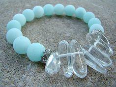 Beaded Stretch Bracelet, Gemstone Bracelet, Blue, Jade Bracelet, Quartz Bracelet, Stacking Bracelets, Boho Bracelet, Boho Chic, Beadwork