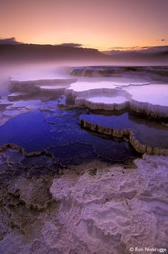 Sunrise in travertine terraces at Mammoth Hot Springs, Yellowstone National Park, Wyoming