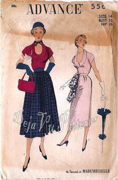 RARE Advance 5564 Vintage 1950s Two Piece Dress by DejaVuPatterns, $22.80