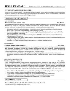 find this pin and more on job resume samples - Sample Resume For Warehouse Position