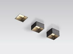 "XAL Move It, 1 3/4"" square recessed trimless fixture. Aperture can be manually adjusted to 3 different positions to achieve a fully recessed, semi recessed and surface mounted look. #lightfair"