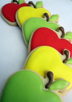 AN APPLE a DAY Decorated Sugar Cookies 1/2 dozen by sugarandflour, $13.50
