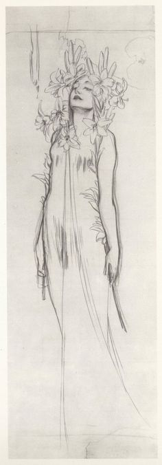Woman with Lilies by Alfons Mucha. Charcoal, ca. 1902.