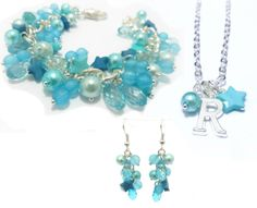 GIFT SET Personalised Initial Necklace with Matching Earrings & Charm Bracelet, Turquoise Bracelet, Turquoise Necklace, Turquoise Earrings