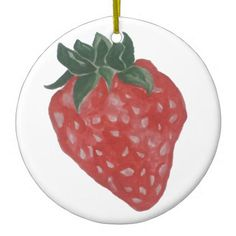 Strawberry Ceramic Ornament - home gifts ideas decor special unique custom individual customized individualized