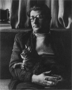 Helmut Newton (famous photographer) with his cat.