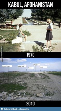 Kabul, Afghanistan: 1970 vs 2010; guess it was the sexily SCANDALOUS women that did it in (sarcasm).