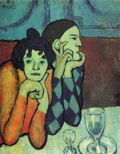 Two Acrobats (Harlequin And His Companion) Pablo Picasso Original Title: Les deux saltimbanques (Arlequin et sa compagne) Date: 1901 Style: Expressionism Period: Blue Period Genre: portrait Media: oil, canvas