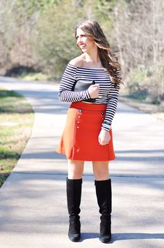 Red Skirt | Off the Shoulder Striped Shirt (a steal at $27!) | Boots | Clutch | Necklace | Watch with This Band | Lipstick: NARS Heat Wave | I used this curling wand on my hair …. Today, I'm bringing you an outfit with some serious nautical vibes. This skirt is one of my ...