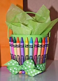 crayons around bucket or vase! Even cuter.... For Seasons, use other color crayons!! Like Red Pink and White for Valentines! Red & Green for Christmas... Luv it!
