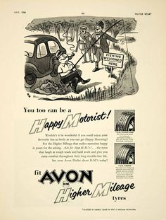 1958 Ad Avon HM Centre Grip Ribbed Tyre Tire Car Auto Parts Fishing Cartoon YMT2