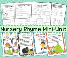 Nursery Rhyme Unit ~Great for Pre-K and Kindergarten students
