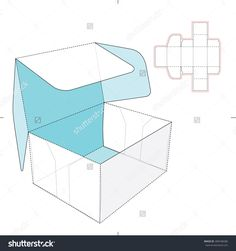 Box With Flip-Flop Lid And Dieline Pattern Stock Vector Illustration 289438286 : Shutterstock