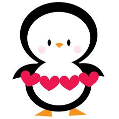 Penguin with hearts Penguin Clipart, Penguin Art, Penguin Love, Cute Penguins, Happy Valentines Day Images, My Funny Valentine, Doodle Drawings, Cute Drawings, Penguin Illustration