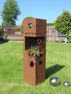 4Eck Säule Rost willkommen Edelrost Metall Gartendeko Stele Rost Deko Rostsäule in Garten & Terrasse, Dekoration, Gartenfiguren & -skulpturen | eBay!