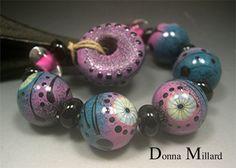 Handmade LAMPWORK Glass Bead Set DONNA MILLARD sra by DonnaMillard,